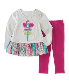 Love this White Floral Tunic & Pink Leggings - Infant, Toddler & Girls on #zulily! #zulilyfinds