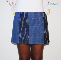 Tribal Vertical Blue Cotton Mini Skirt by Navaiyara on Etsy, €15.00