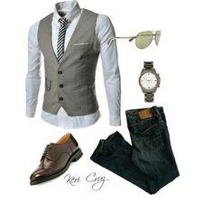 Chaleco gris, jeans