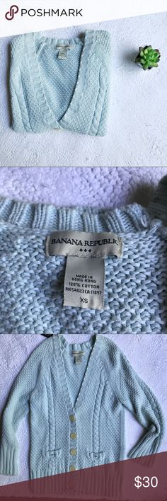 Banana Republic Cardigan Light blue Banana Republic Cardigan. Super soft and comfy. Only sign of use is the missing buttons on the pockets (as pictured above) which isn't noticeable upon wear. Banana Republic Sweaters Cardigans