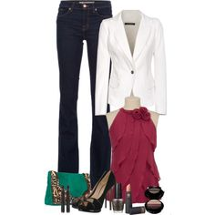Dressy casual with a white blazer and chiffon top.