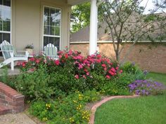 nice front flower bed - knockout roses