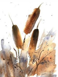 Items similar to FINE ART PRINT of Cattails Watercolor Painting 'Sunlit Cattails' Nature Landscape by Vickie Sue Cheek, Wall Decor on Etsy Watercolor Landscape, Abstract Watercolor, Watercolor And Ink, Watercolor Flowers, Watercolor Paintings Nature, Abstract Oil, Abstract Paintings, Abstract Landscape, Art Paintings