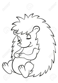 Baby Coloring Pages, Animal Coloring Pages, Coloring Books, Autumn Crafts, Autumn Art, Drawing For Kids, Art For Kids, Hedgehog Drawing, Cute Hedgehog