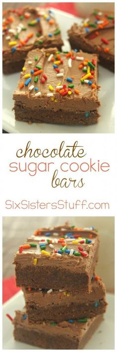 Chocolate Sugar Cookie Bars from http://SixSistersStuff.com: These are wonderful! Delicious and easy to make!
