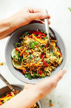 "Meet your lunch plans. Healthy whole30 Thai chicken noodles with ""peanut"" sauce, kale, and bell peppers. An easy family friendly meal, serve hot or cold! Easy whole30 dinner recipes. Whole30 recipes. Whole30 lunch. Whole30 recipes just for you. Whole30 meal planning. Whole30 meal prep. Healthy paleo meals. Healthy Whole30 recipes. Easy Whole30 recipes. Zucchini Noodle recipes."