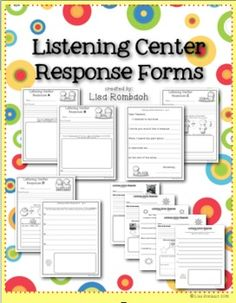Listening Center Response Forms for Primary Grades - Lisa Rombach Kindergarten Reading, Teaching Reading, Guided Reading, Teaching Ideas, Reading Strategies, Reading Activities, Reading Centers, Literacy Centers, Listening Centers