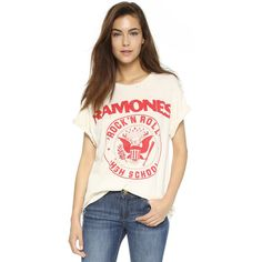 MADEWORN ROCK Ramones 1979 Rock Printed Tee ($160) ❤ liked on Polyvore featuring tops, t-shirts, dirty white, white t shirt, distressed t shirt, distressed rock tees, distressed white t shirt and ripped t shirt