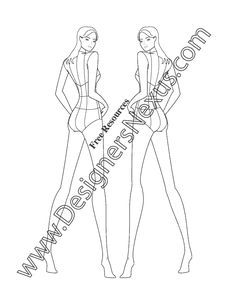 This free fashion figure template shows a female model croqui standing in a back view pose. This fashion croqui template is shown with design lines on the body (center front, center back, princess lines, armholes, waistline, etc.) for easy sketching of apparel designs. This free fashion template is available to download in Adobe Illustrator format …