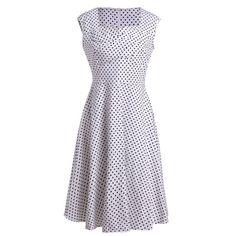 Retro Polka Dot Print Sweetheart Neck Sleeveless Dress For Women #women, #men, #hats, #watches, #belts