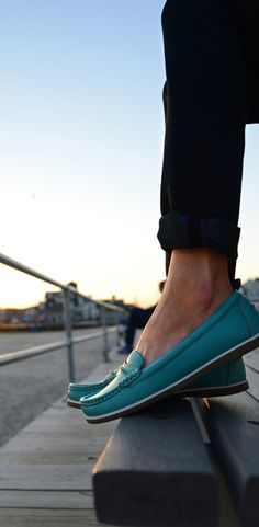blue loafers with skinny black jeans