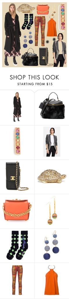 """My fashion my show"" by cate-jennifer ❤ liked on Polyvore featuring DRKSHDW, Vasic, Sydney Evan, Smythe, Chanel, Judith Leiber, Alexander McQueen, Holst + Lee, Happy Socks and Shashi"