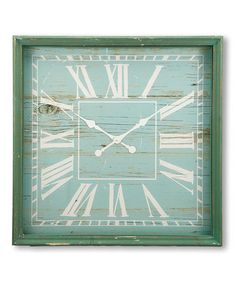 Turquoise Square Wall Clock by Foreside