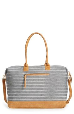 Canvas striped duffel bag