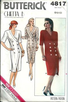 Chetta B Butterick 4817 Misses Double-Breasted Dress Pattern Sizes & UNCUT by DawnsDesignBoutique on Etsy 1980s Dresses, Vintage Dresses, Fashion Illustration Sketches, Pattern Illustrations, Fall Sewing, Miss Dress, Vintage Glamour, Vintage Sewing Patterns, Sewing Clothes