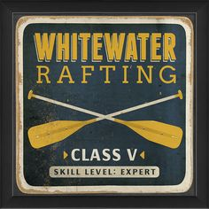 Whitewater Rafting Sign Framed Graphic Art