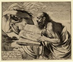 The temptation of St Jerome who reads the Bible with a female nude beside him.  1625 Engraving