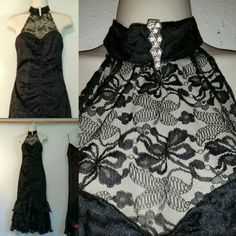 Authentic Dirty Dancing  Black Lace Mermaid Dress by Fantasy Formals 1980s