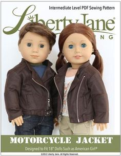 Motorcycle Jacket 18 inch Doll Clothes Pattern PDF Download | Pixie Faire