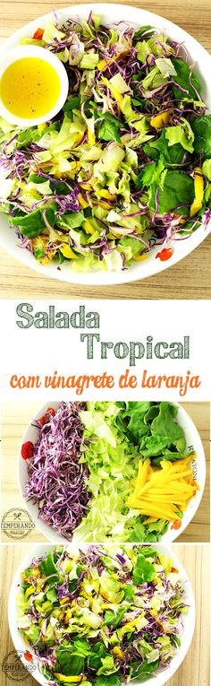 Salada Tropical com Vinagrete de Laranja - Receitas - I Love Food, Good Food, Yummy Food, Veggie Recipes, Vegetarian Recipes, Healthy Recipes, Light Recipes, Going Vegan, Food Inspiration