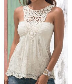 Lace Splicing Backless Fashionable Scoop Neck Tank Top For Women