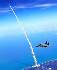 Shuttle launch seen from an F-15. (Space Shuttle Atlantis launching on her penultimate mission, STS-132, on May 14, 2010.)