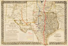 #39 1876Great Texas & Southwestern Cattle Trails Stages Frontier Forts