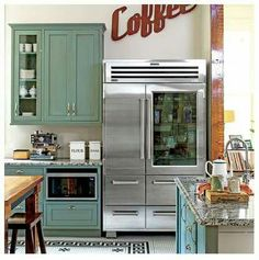 Southern Chef's Kitchen Who says industrial-grade appliances can't feel at home in a vintage kitchen?Feel It Feel It may refer to: Commercial Kitchen Design, Commercial Appliances, Country Kitchen, New Kitchen, Kitchen Decor, Kitchen Furniture, Furniture Stores, Kitchen Tips, Bedroom Furniture