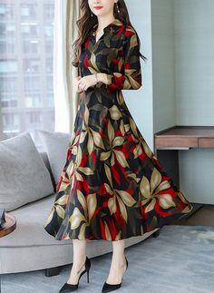 Floral Shirt Long Sleeve Midi A-line Dress - Floryday - Vestidos Stylish Dresses, Elegant Dresses, Beautiful Dresses, Fashion Dresses, Long Casual Dresses, Frock Design, Ladies Dress Design, Floral Frocks, Floral Dresses