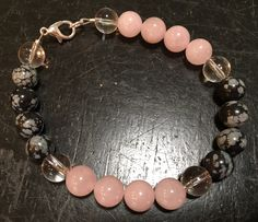 Protection, Love, and Emotional Balance Bracelet (rose quartz, snowflake obsidian, quartz)