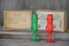 Vintage Mr Peanut Salt and Pepper Shakers, Christmas Red and Green, Original Box with United States Stamp of 1 1/2 cent, Stamp Collector Set