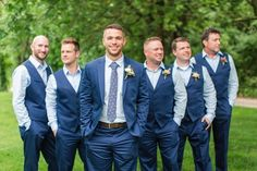 Backyard wedding attire men groom outfit Ideas for 2019 Groomsmen Attire Navy, Groom Outfit, Bridesmaids And Groomsmen, Groom Suits, Blue Suit Groom, Blue Suit Vest, Navy Suits, Wedding Vest, Wedding Suits