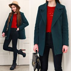 Vateno Dark Green Simple Coat, Awwdore Hollow Knitwear Red Cropped Sweater, Ecugo Black Elegant Bag, Romwe Black High Waisted Pants, Mart Of China Black High Heels Boots, Front Row Shop Beige Hat