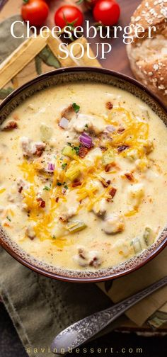 Cheeseburger Soup Recipe Easy loaded Cheeseburger Soup made with beef, potatoes and vegetables and garnished with bacon onion and pickles for the total cheeseburger experience! Chowder Soup, Chowder Recipes, Gourmet Recipes, Cooking Recipes, Healthy Recipes, Crockpot Recipes, Healthy Junk, Candy Recipes, Healthy Hair
