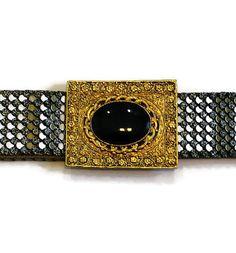 1960's Elastic Belt Antique Silver Scales by HeidisTreasureChest