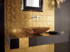 modern art tile | Gold Tiles from Dune - high end tile from Damasco collection