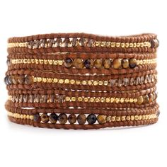 Tiger's Eye & Gold Bead On Leather 5 Wrap Bracelet New Charm Bangle #CHAN #Bangle
