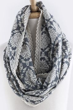 Lace trimmed Patterned Infinity Scarf