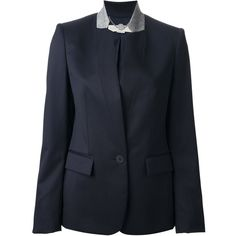 Stella McCartney contrast collar blazer (2,755 BAM) ❤ liked on Polyvore featuring outerwear, jackets, blazers, blue, stella mccartney blazer, long sleeve jacket, stella mccartney jacket, stella mccartney and blue blazer