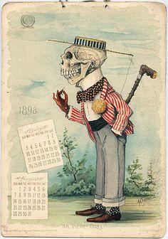 Three Apothecaries Classic Antikamnia Calendar 1900 Vintage Anatomy Poster
