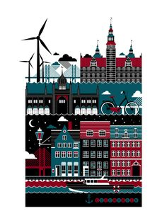 St. Petersburg freelance illustrator Xenia Bystrova created a four poster series of Berlin, Amsterdam, Helsinki and Copenhagen. This is the Copenhagen poster which features it's famous harbor buildings, Oresund Bridge and the Copenhagen Rosenborg slot (castle).