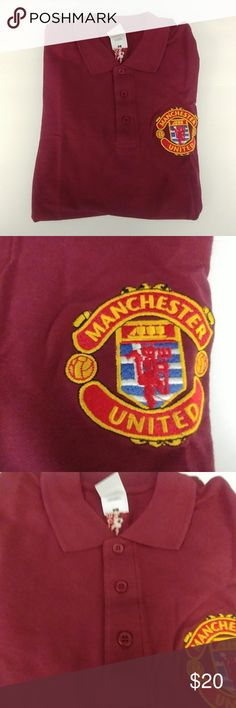 Manchester United Polo Brick red Manchester united polo shirt. Greek supporters club embroidered on sleeve. The item being sold is sealed in its original plastic bag. It is new and unused. There are no tags as it's a promotional item purchased thorough the club. Fruit of the Loom Shirts Polos Fruit Of The Loom, Manchester United, Brick, Polo Shirt, Polo Ralph Lauren, The Unit, Plastic, Man Shop, Club