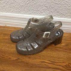 b4155b758032 Juju Jellies Babe clear glitter heeled sandals