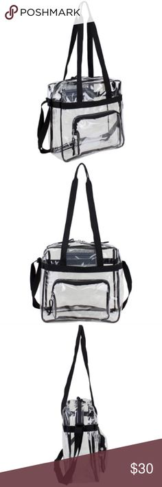 🎀 Clear Tote 🎀 The major compartment offers ample space to carry everything you need for the game, event, or work. This bag has an outside zip pocket for easy access and secure storage, plus a small mesh zip pocket inside for your phone or wallet. This clear tote bag is lightweight and promises reliable performance and hassle-free maintenance. Bags Totes
