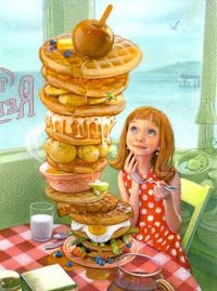 Okay now Dad, this would be you! I've never known someone who could eat such SWEETS as you and NEVER gain a pound, EVERHA! I am a sweet~treat~breakfast eater (Artwork by Greg Swearingen) Children's Book Illustration, Food Illustrations, Love Art, Art Lessons, Amazing Art, Childrens Books, Art For Kids, Artwork, Whimsical