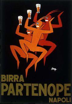 Vintage Birra Partenope Italian beer advertisement art poster #vintagead