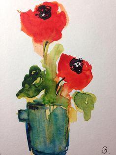 ORIGINAL AQUARELL Aquarellpostkarte Mohnblumen Blumen Bild