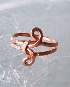 Ring sz  8.5  - Infinity Love Knot Wire Wrapped Hammered Copper. $20.00, via Etsy.