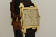 Patek Philippe Yellow Gold Square Wristwatch with Flame Lugs Ref 2424 circa 1950s image 3