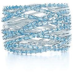 Tiffany & Co. aquamarine and diamond bangle bracelet.